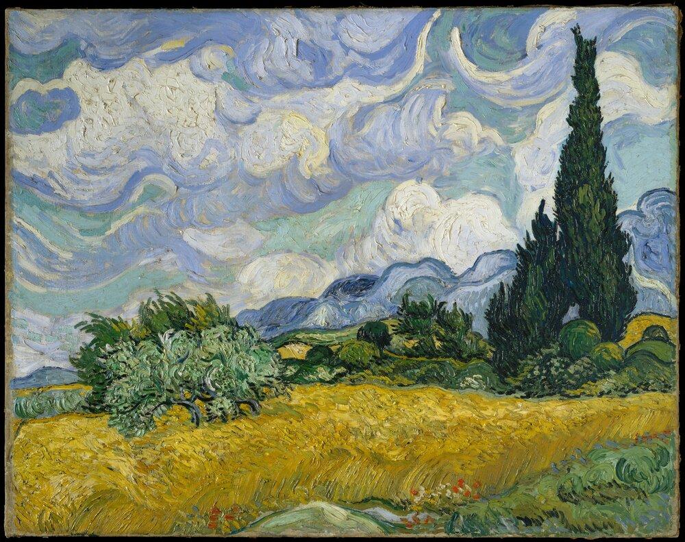 Вінсент ван Гог, Wheat Field with Cypresses, 1889