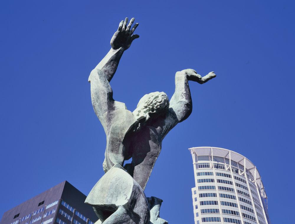 Роттердам Нідерланди Вересень 2018 Зруйнували Місто 1953 Скульптура Осипа Цадкіна-