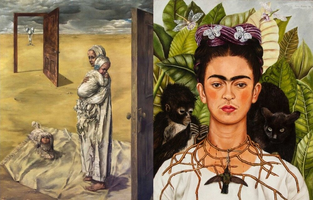 Справа: Фріда Кало,  Selfportrait with thorn necklace . Світлина: Banco de México Diego Rivera Frida Kahlo Museums Trust/VG Bild-Kunst, Bonn 2020  Зліва: Дороті Теннін, Maternity, 1946-47. Світлина:  ohcomely