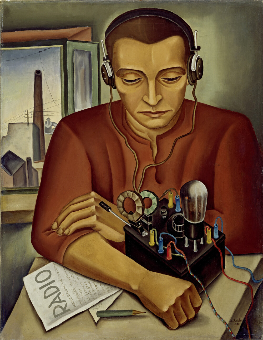 Макс Радлер, The Radio Listener, 1930. Lenbachhaus Munich. Світлина: Lenbachhaus. © Max Radler or legal succession.