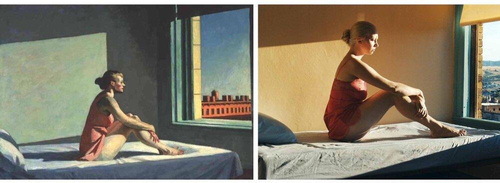 Зліва: «Ранкове сонце». Справа: кадр з фільму. Світлина:  swissinfo.ch