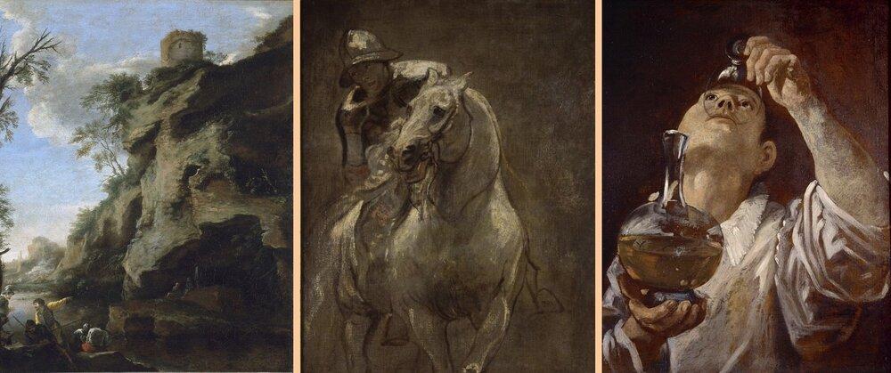 Антоніс Ван Дейк «Солдат на коні», 1616; Сальватор Роза «Скелясте узбережжя», кінець 1640-х та Аннібале Карраччі A Boy Drinking, близько 1580. Світлини:  internewscast