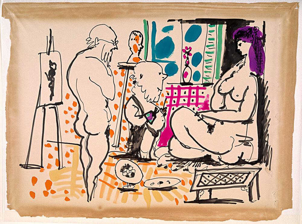 «У майстерні», Пібло Пікассо, 1955 © RMN-Grand Palais (Musée national Picasso-Paris) / Adrien Didierjean © Succession Picasso/DACS 2019