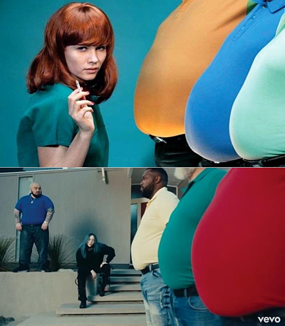 Зверху кадри з Toiletpaper, знизу - кадри з кліпу Біллі Айлиш.