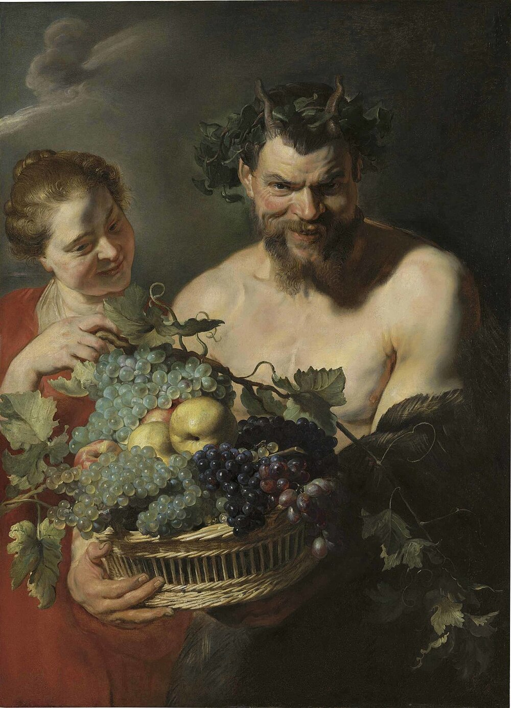 A Satyr holding a Basket of Grapes and Quinces with a Nymph, Рубенс, 1620. ©WIKIMEDIA COMMONS