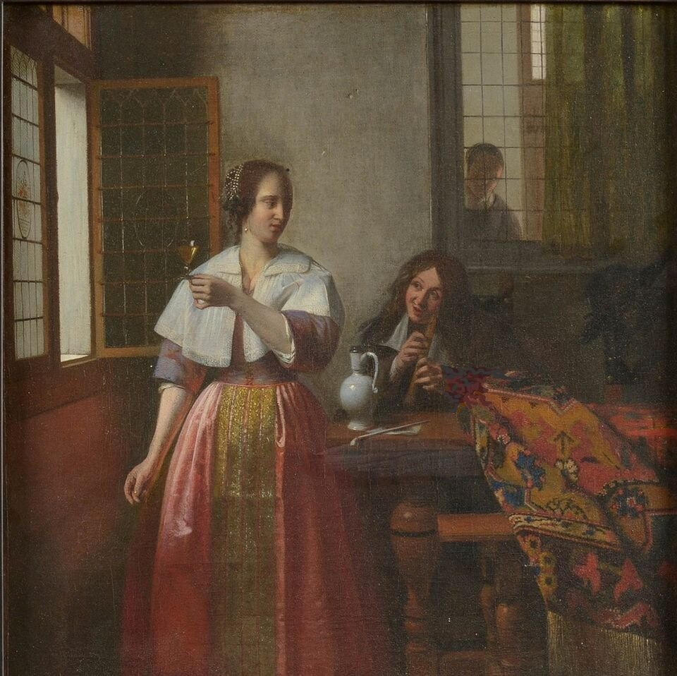 A Young Woman with a Wine Glass and a Musician playing a Tenor Recorder, Ян Вермер ©The Art Newspaper