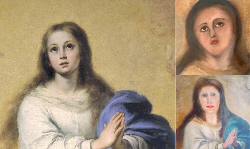 Зліва: копія роботи  Справа: відреставрована картина