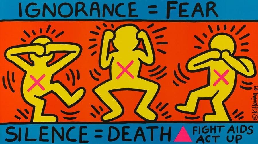 "Кіт Харінг ""Ignorance = Fear"","