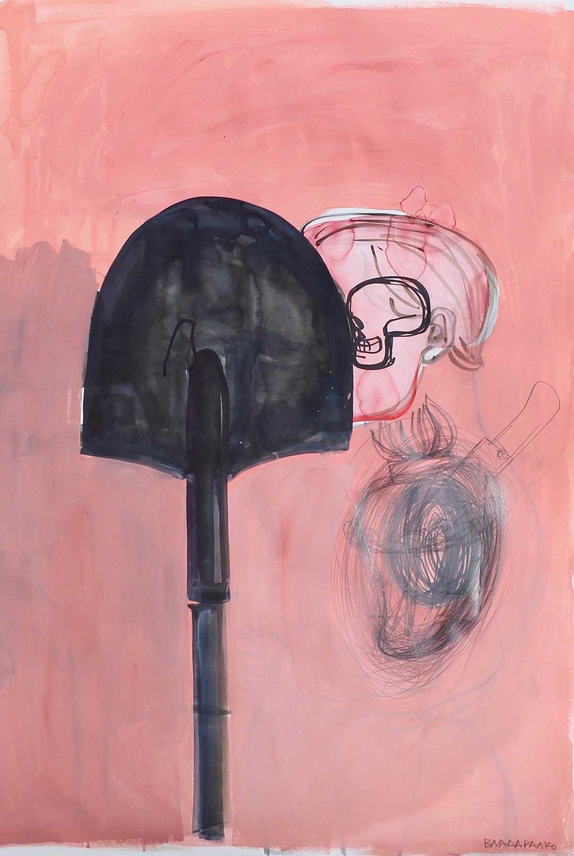 Влада Ралко (Київ), із серії «Моя робота мене робить», папір, акварель, олівець, маркер, 112 х 77 см.,2019