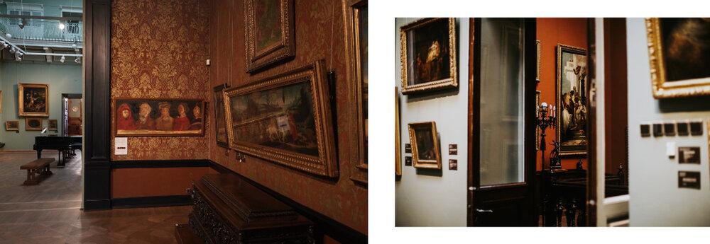 Ліворуч: фрагмент експозиції зі штудією Матвія Вайсберга «П'ять майстрів флорентійського Відродження: Джотто, Учелло, Донателло, Манетті, Брунеллескі», 2003. Праворуч: Музей Ханенків, фото Дар'ї Мангубі