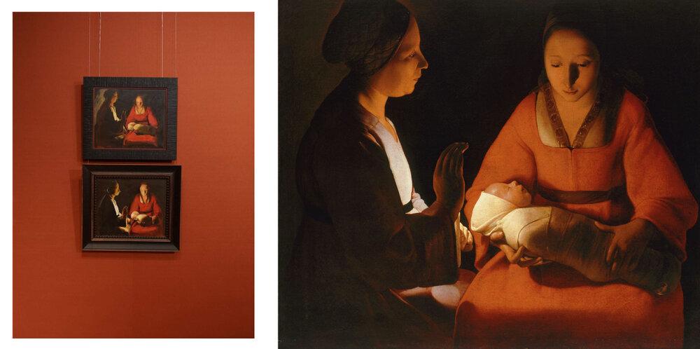 Ліворуч: фрагмент експозиції, штудії до картини Жоржа де Латура «Новонароджений» Матвія Вайсберга, 2005. Праворуч: Жорж де Латур (1593–1652), «Новонароджений», Реннський музей образотворчого мистецтва, Франція