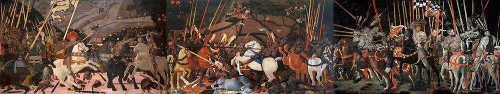 Паоло Учелло (1397–1475), «Битва при Сан-Романо», триптих, орієнтовно 1435–1440. Національна галерея, Лондон; Галерея Уффіці, Флоренція; Лувр, Париж