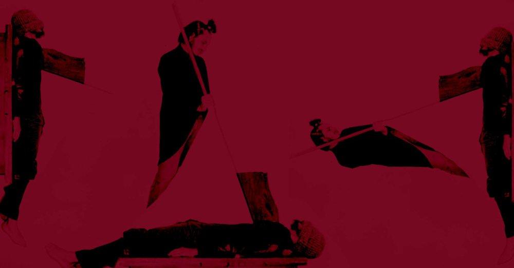 Перформанс Ігоря Чацкіна та Юрія Лейдермана «Способи вбивства прапором». Колаж — Микола Карабінович