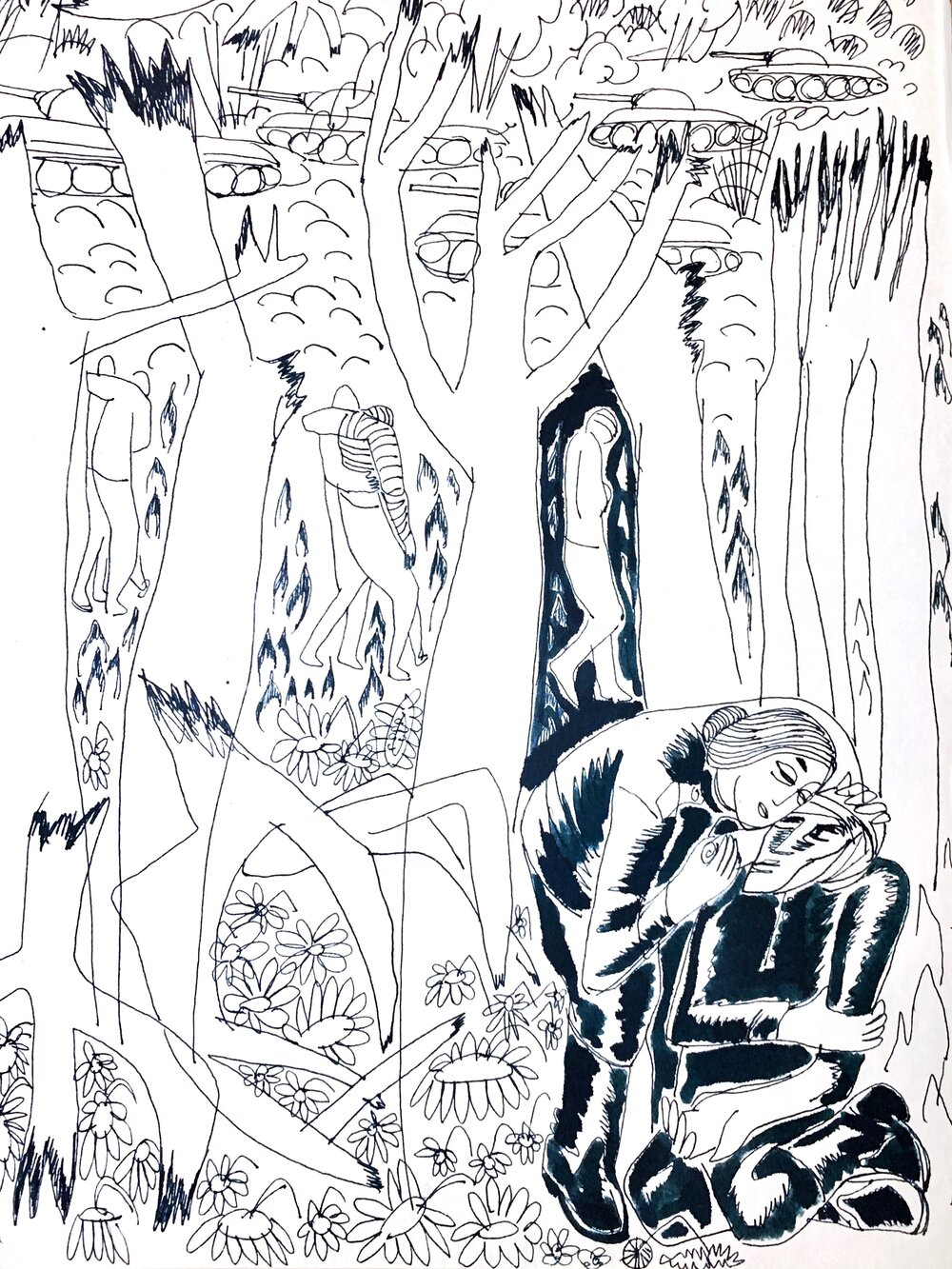 Ада Рибачук, Володимир Мельниченко. Ескізи ілюстрацій до роману Леоніда Первомайського «Дикий мед», 1965