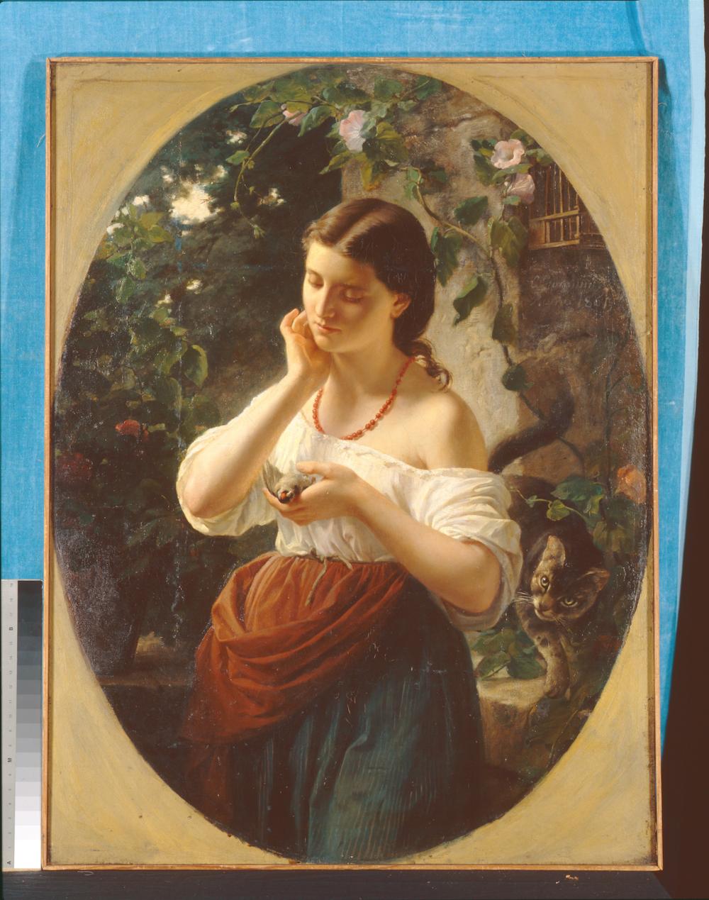 «Дівчина з мертвою пташкою» Фракасіні Чезаре, 19 ст. Зображення надано Музеєм Ханенків