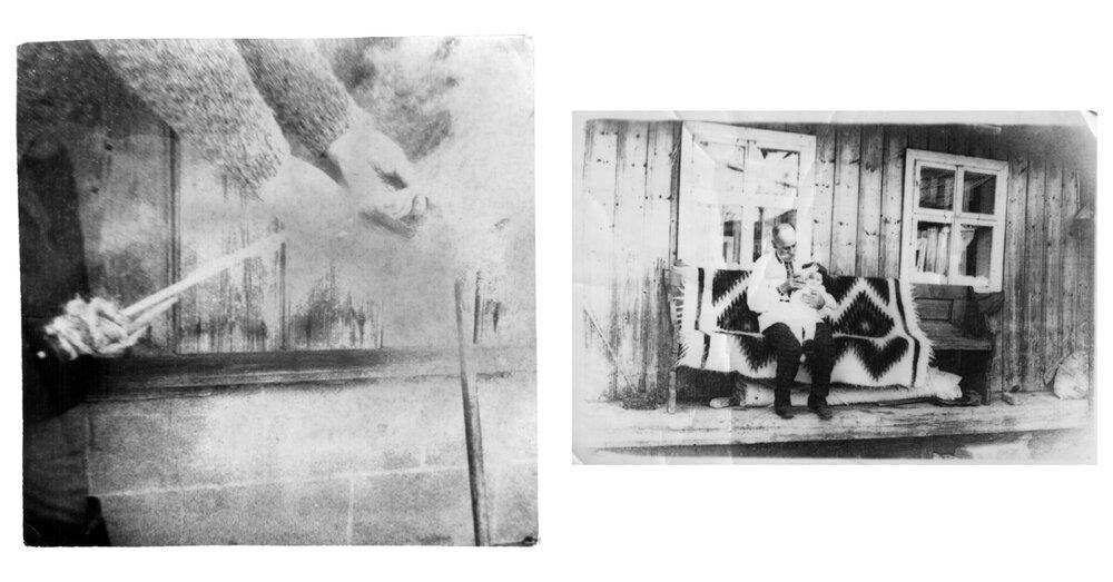 Фото зліва направо: пряжа вовняної нитки для ліжника, знімок з села Яворів; ліжник у побуті, знімок з села Яворів, приблизно 1950-ті, з архіву Любові Рибенчук.