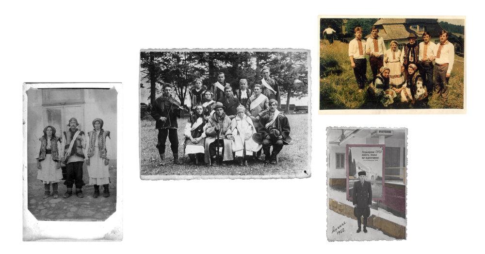 Фото зліва направо: знімок з села Зелене, Верховинський район, з колекції музею «Альпеншток», Яремче; знімок з села Зелене, Верховинський район, з колекції музею «Альпеншток», Яремче; знімок з села Яворів, 1990-ті, з колекції Марії Базевої; знімок з Яремча, 1956, з колекції музею «Альпеншток», Яремче.