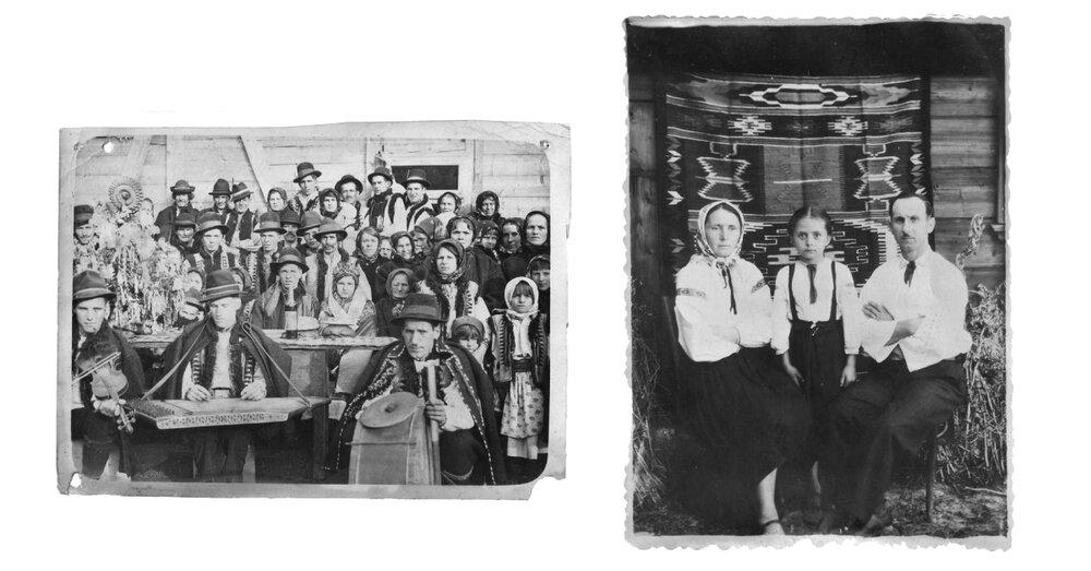 Фото зліва направо: знімок з села Шепіт (Брустури), з колекції музею «Альпеншток», Яремче; знімок з села Баня Березів, з колекції музею «Альпеншток», Яремче.