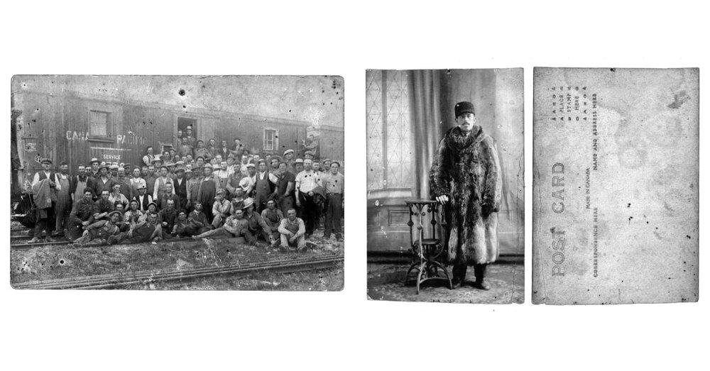 Фото зліва направо: мігранти в Канаду, 1919, з колекції Марії Шастало з села Стримба; Роман мігрував в Канаду, 1920-ті, з колекції Марії Шастало з села Стримба