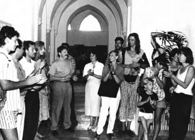Зліва на право: Семен Каліка, Маргарита Жаркова, Тетяна Вербицька, «ТИРС», 1990-ті, надано МСМО